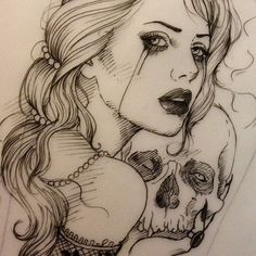 Woman with skull tattoo