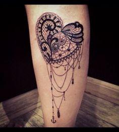 Black heart lace tattoo