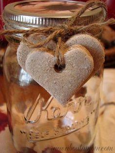 Cinnamon Salt Dough Hearts make a cute decoration for Valentine's Day