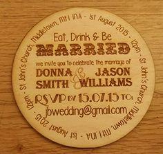 """Magnetica in legno, con carta, inviti da matrimonio, invito, personalizzabile con nome e data e il luogo, rustico, con incisione al Laser, con scritta """"Save the Date"""", 100 Invititations"""