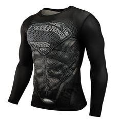 2015 Mới Tập Thể Dục Compression Áo Sơ Mi Nam Superman Thể Hình Dài Tay Áo T Shirt 3D Crossfit Tops Áo Sơ Mi