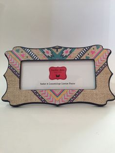 barber cosmetology license frame burlap teal pink yellow navy blue aztec arrow print fits 8 12 x 3 58 business certification