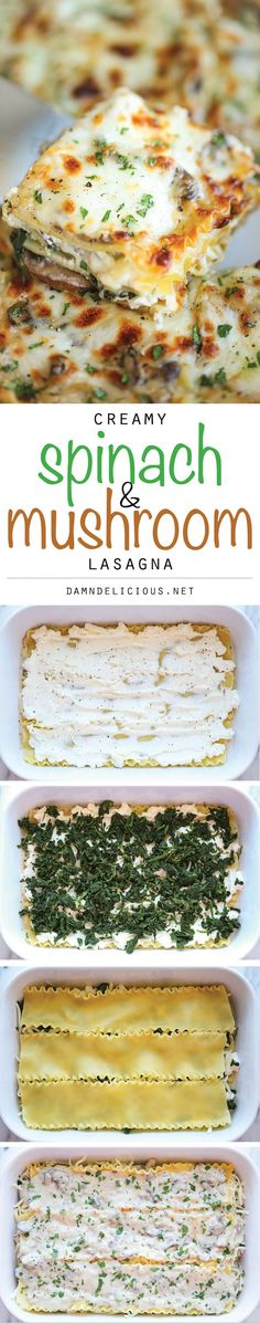 Creamy Spinach and Mushroom Lasagna – This is sure to become a family favorite. … Creamy Spinach and Mushroom Lasagna – This is sure to become a family favorite. Best of all, it's freezer-friendly and can also be made ahead of time! Yummy Recipes, Vegan Recipes, Cooking Recipes, Yummy Food, Meatless Recipes, Recipies, Meatless Lasagna, Pasta Recipes, Vegan Ideas