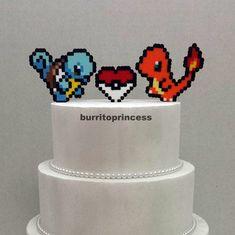 Wedding Cake Toppers Custom Pokemon Wedding by BurritoPrincess Camo Wedding Cakes, Custom Wedding Cake Toppers, Wedding Topper, Gamer Wedding Cake, Geek Wedding, Our Wedding, Wedding Ideas, Batman Wedding, Fantasy Wedding