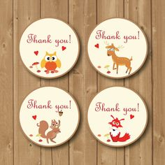 Thank You Favor Tags .Woodland tags.Animals by Alapipetuadesign