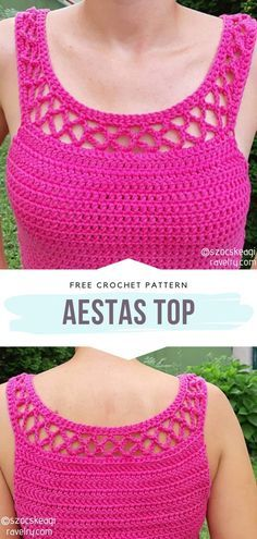 Aestas Top Free Crochet Pattern Welcome spring in this lovely top this year. The cute design will suit any wardrobe! It's elegant, classy, with a hint of boho style. Nice details on the sides make it perfect for the day at the beach. Crochet Tank Tops, Crochet Summer Tops, Crochet Cardigan, Crochet Womens Tops, Crochet Summer Dresses, Crochet Vests, Crochet Woman, Crochet Baby, Knit Crochet