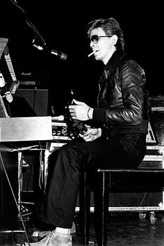 """March 19th, 1977: David Bowie continues to support """"The Idiot"""" world tour with Iggy Pop, today at the Tower Theatre. Philadelphia, PA."""