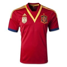 Only the best team in the world can wear a patch saying they are the World Cup champions. Wear the Adidas Spain Home jersey as they look to make it 2 in a row in Brazil 2014.   Get it at www.soccercorner.com