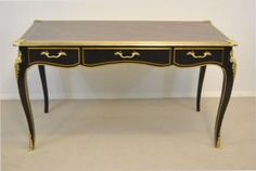 Black-French-Directoire-Desk-with-Brass-Mounts-by-Baker-Furniture