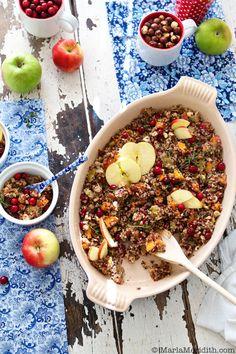 """quinoa """"stuffing"""" w/ apple, sweet potato & hazelnuts"""