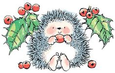 Christmas - Rubber Stamps (Page Penny Black Karten, Penny Black Cards, Hedgehog Art, Cute Hedgehog, Christmas Clipart, Christmas Art, Black Christmas, Merry Christmas Background, Christmas Paintings