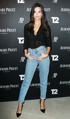 Contrast your go-to mom jeans with a sheer blouse and pointed-toe pumps. On Emily Ratajkowski: Christian Louboutin So Kate Pumps ($675).