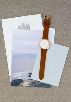 Love the mahogany leather band/white face on this Shore Projects watch