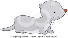 Royalty-Free (RF) Clipart Illustration of a Cute Gray Weasel by BNP Design Studio