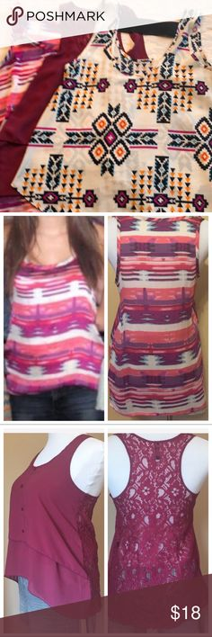 3 Tanks for One Price One Aztec tank with elastic black strap across back has multi colors of blue, orange and black print on white, polyester. One water color print tank pink of pink, purple, and white. 100% polyester. (Forever21). One lace back high-low burgundy tank has racer back and tiered front. (Divided) 16/07. Several Tops Tank Tops