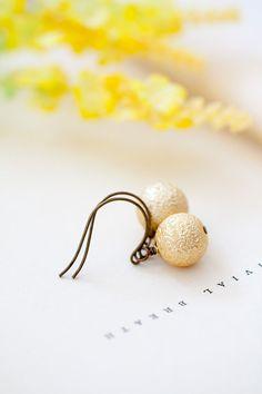 Gold Pearl Dangle Earrings Simple Pearl Earrings by MeMadeJewels