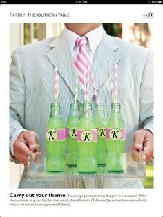Saw this in a Southern Living article about seersucker and a themed party by designer Tobi Fairley. Such a simple touch--glass Sprite bottles with a paper monogram and paper straws. Love it!