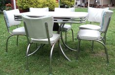 Vintage 1950s Gray Top Formica and Chrome Retro Kitchen Table and 6 Chairs with Blue Trim