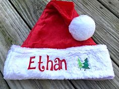 A personal favorite from my Etsy shop https://www.etsy.com/listing/254317320/personalized-santa-hat-customized-just