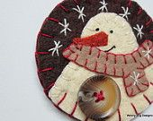 Ivory Wool Felt Snowman Ornament, Tan Scarf, Brown Background, Handstitched Snowflakes