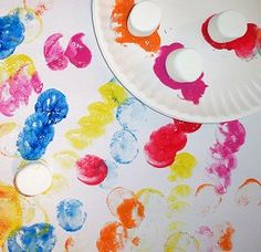 marshmallow painting. i love this, i always have leftover marshmallows after going camping.