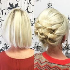 Huntington Beach, you were amazing! ❤️California❤️ PACKED out the house at The Girl Cave. Here is short, fine hair UP. Short hair CAN go up using techniques! (Model is long time friend and stylist - KellGrace Short Asymmetrical Hairstyles, Short Hairstyles Fine, Short Hair Updo, Up Hairstyles, Short Hair Cuts, Wedding Hairstyles, Short Hair Styles, Short Wedding Hair Updo, Updos For Fine Hair