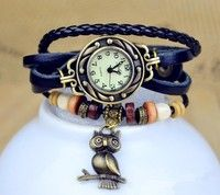 Buy 2013 New lady vintage fashion Owl Pendant Bead Bracelet watch Genuine cow leather quartz watch for women at Wish - Shopping Made Fun Owl Bracelet, Bracelet Watch, Cow Leather, Vintage Leather, Vegan Leather, Bohemian Accessories, Bohemian Jewelry, Owl Pendant, Butterfly Pendant