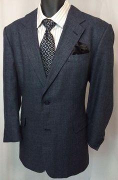 Hart Schaffner Marx 44R Sport Jacket Black/Blue Pin Dot Suit Coat | Free Tie EUC in Clothing, Shoes & Accessories | eBay