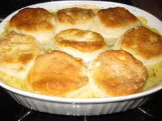 Easy chicken pot pie with biscuits I think the flakey layers biscuits woukd make this sooo much better!!
