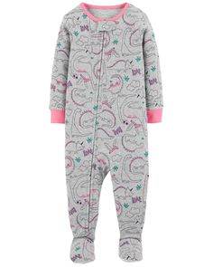 Crafted in soft cotton, these dinosaur PJs get her ready for bed in one easy zip! Carter's cotton PJs are not flame resistant. They're designed with a snug and stretchy fit for safety and comfort. Baby Girl Pajamas, Toddler Pajamas, Baby Boy, Carters Baby Girls, Kids Clothing Rack, Kids Clothes Sale, Clothes Shops, Toddler Outfits, Kids Outfits