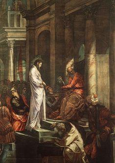 """Jacopo Robusti Tintoretto (1518-1594) Christ before Pilate Oil on canvas 1566-1567 515 x 380 cm (202.76"""" x 149.61"""") Sala dell'Albergo, Scuola di San Rocco (Venice, Italy)"""