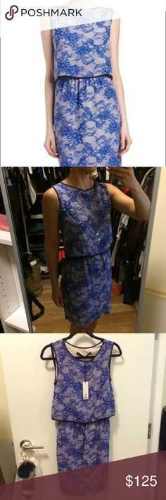 """Lace print dress NWT. Two piece illusion dress. Lace print crepe with solid chiffon trim. Cutaway top reveals cutout in back. Straight skirt; pullover style. 36"""" L front and back. 100% Silk with rayon jersey lining. Cut25 by Yigal Azrouel Dresses Midi"""