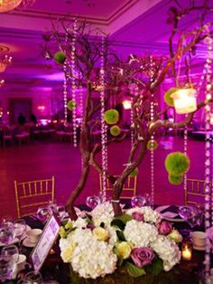 Glittered Vogue Manzanita Centerpiece Tree with LED lights - Purple Manzanita Tree Centerpieces, Manzanita Branches, Wedding Centerpieces, Wedding Decorations, Wedding Ideas, Centerpiece Ideas, Wedding Favors, Wedding Stuff, Wedding Inspiration