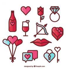 Coleção de elementos valentine