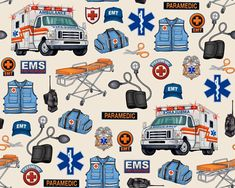 Quilting Treasures What The Dr. Ordered Medical Rescue Toss Oatmeal fabric - 1 yard by DownSouthHippie on Etsy Nurse Clip Art, Medical Clip Art, Medical Icon, Dr Orders, Dan Morris, Firefighter Paramedic, Neon, Sewing Stitches, Ambulance