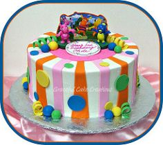 The Backyardigans Birthday Cake (Graceful Cake Creations) Tags: birthday pink blue party orange baby white green classic cakes yellow cake kids moments purple unique stripes special polkadots butter precious round childrens dots custom occasion picnik whimsical fondant buttercream gumpaste backyardigans