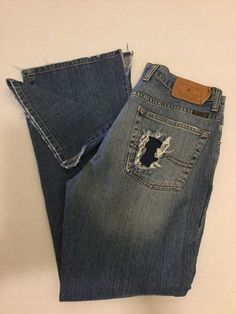 Lucky Brand Dungarees Womens Blue Jeans Relaxed Lazy Distressed Cotton Sz 31x31 #Lucky #Relaxed