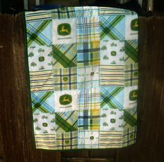 Boy Baby Quilt - John Deere Blue and Green - Crib Size via Etsy.
