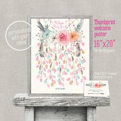 Dreamcatcher thumbprint guestbook welcome sign. Fingerprint dream catcher printable. Size 16x20. For a baby/bridal shower or other occasion. 40–70 guests. Original artwork. Customization is made by me with your details (name). FREE instruction card! Designed to match Pink Teal Peach Dreamcatcher Baby Shower or Bridal Shower invitations: https://www.etsy.com/listing/483628541/dreamcatcher-teal-peach-pink-boho-baby or Dreamcatcher Birthday invitation: https:&#x2F...