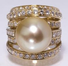 Champagne pearl, diamond, &18k ring