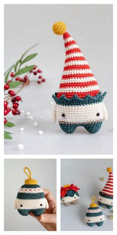 Amigurumi Small Christmas Elf Free Pattern – Free Amigurumi Patterns Amigurumi Small Christmas Elf Free Pattern – Free Amigurumi Patterns Always aspired to learn to knit, however unsure how. Crochet Christmas Decorations, Crochet Ornaments, Christmas Crochet Patterns, Holiday Crochet, Christmas Knitting, Cute Crochet, Crochet Crafts, Yarn Crafts, Crochet Projects