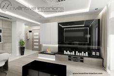 Projekt salonu Inventive Interiors - biokominek wkomponowany w zabudowę meblową