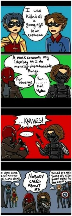 Cool! #   funny.  - red hood and winter soldier