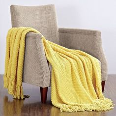 BOON Throw & Blanket Knitted Tweed Throw Blanket Color: Sunshine Yellow