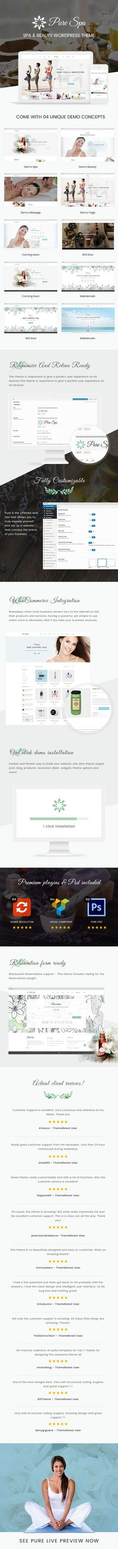 PURE is perfectly responsive beautiful spa and beauty WordPress theme for beauty salons, wellness centers, SPA, massage and other health and beauty related websites. PURE will certainly take your business to the next level with its elegant design combined with the latest techniques in website design.