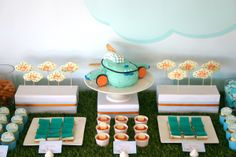 """Airplane birthday party. I like the idea of doing a """"First Class"""" table or adult food/beverages!"""
