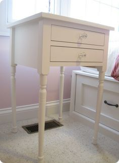 White Two-Drawer Bedside Table. Pottery Barn DIY! I love it! http://knockoffdecor.com/
