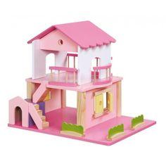 Dit grappige poppenhuis is gemaakt van hout en heeft een leuke roze kleur. Het poppenhuis heeft een hondenhok en 2 trappen. Met de trappen kun je naar de eerste verdieping.Het dat is van het huis af te halen in 2 delen. Deze dakdelen zitten bevestigd met magneetjes. Bij het poppenhuis zitten ook nog leuke accessoires zoals heggen.Afmeting: 40 x 35cmJe moet het houten poppenhuis zelf in elkaar zetten. Het is niet moeilijk, maar kost wel een beetje tijd.