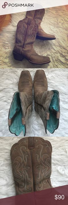 Ariat Women's Cowboy Boots Ariat Women's Cowboy Boots - Size: US 7 / teal and white detailing. Lightly worn. Ariat Shoes Heeled Boots