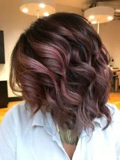 chocolate mauve hair wavy bob
